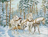 Вышивка крестиком Тройка белых лошадей 67х55 см (арт. MK029)