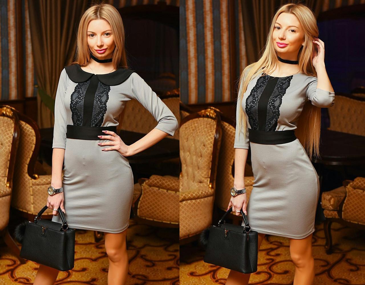 Женское серое платье с кружевом на груди, цена 288,30 грн., купить в ... b6305ad428b