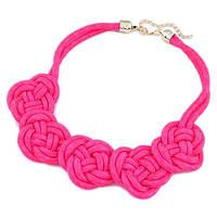 Ожерелье плетённое из шнура Розовые Цветы