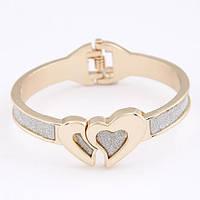 Женский браслет на руку с сердечками на шарнирах B004732 золотистый