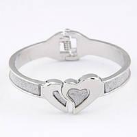 Женский браслет на руку с сердечками на шарнирах B004731 серебристый