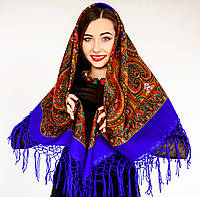 Украинский необычный платок для женщин (120х120см, синий, 100%-акрил), фото 1