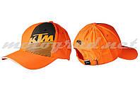 Бейсболка оранжевая-черная 100% хлопок KTM