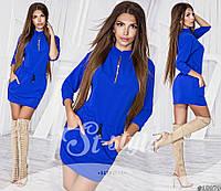 Молодежное синее платье с пояском и декольте на змейке. Арт-2404/66