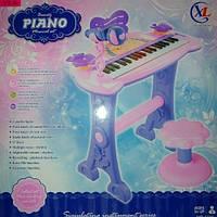 Детское пианино для девочек со стулом и микрофоном 6613