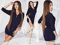 Молодежное темно-синее платье с пояском и декольте на змейке. Арт-2404/66