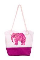 Текстильная сумка XYZ Санбич Слон розовая
