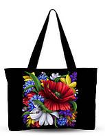 Текстильная сумка XYZ Орнамент Букет чёрная