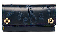 Кожаный кошелёк Gato Negro Alfa Big Catswill Blue