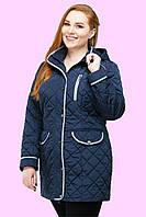 Стильная женская демисезонная однотонная удлиненная куртка полуприталенного фасона Адена. р.48.50.52.54.56.58