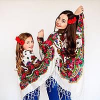 Украинский модный платок для девушек (100х100см,белый)