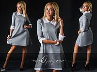 Молодежное серое платье с белым воротником и рукавом 3 четверти. Арт-2406/66