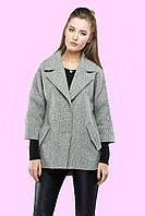 Модное шерстяное демисезонное пальто oversize. Оригинальная модель свободного, ассиметричного кроя. р.44