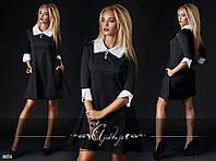Молодежное черное платье с белым воротником и рукавом 3 четверти. Арт-2406/66