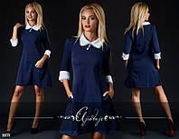 a8bc907fa78 Молодежное темно-синее платье с белым воротником и рукавом 3 четверти.  Арт-2406