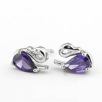 Серьги Лебеди S004653 фиолетовые