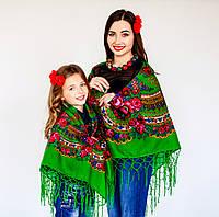 Зеленый женский платок для девушек (100х100см, зеленый, 100%-акрил), фото 1