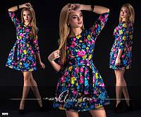 Яркое платье с цветным принтом и с поясом. Арт-2408/66