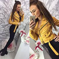 Стильная укороченная женская кожаная куртка-косуха на диагональной молнии, цвет желтый