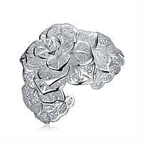 Покрытый серебром 925 пробы женский Браслет на руку Шикарная роза II 154845