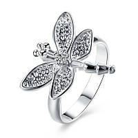 Женское кольцо покрытое серебром Стрекоза 154887 (16.5 17.3 18.2 размеры в наличии)