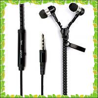 Наушники-змейка Zipper с микрофоном