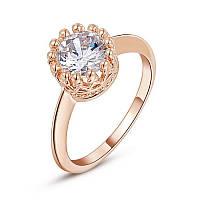 Позолоченное женское кольцо бижутерия с белым кристаллом Башня Сокровище морей 576409