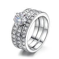 Женское кольцо тройное с позолотой Интрига 409297 (16.5 17.0 19.0 размеры в наличии)
