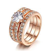 Женсоке кольцо тройное с позолотой Новая классика 409296 (16.0 16.5 17.0 17.5 18.0 19.0 20.0 размеры в нал.)