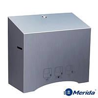 Механический диспенсер бумажных полотенец в рулонах из матовой нержавейки Merida Stella Automatic, Польша