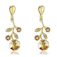 Женские серьги с кристаллами Swarovski Конан 158273 жёлтые
