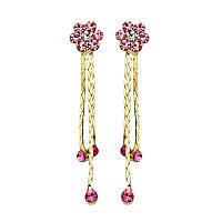 Женские серьги с кристаллами Swarovski Пуансе 158361 розовые