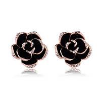 Женские серьги с чёрной эмалью в позолоте Шикарные розы 804067