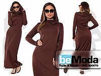 Модное женское длинное платье больших размеров с оригинальным капюшоном коричневое