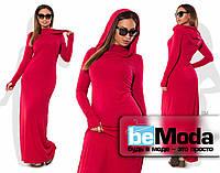 Модное женское длинное платье больших размеров с оригинальным капюшоном малиновое