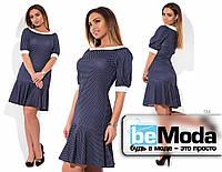 Милое женское платье для пышных дам оригинального крочя в мелкий горох темно-синее
