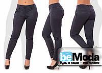 Стильные облегающие женские брюки из стрейч-шерсти больших размеров черные