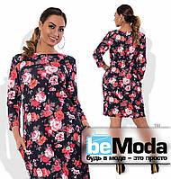 Оригинальное женское короткое платье больших размеров из кукурузы в цветочный принт черное