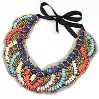 Ожерелье-воротник из бисера P004891 разноцветное