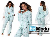 Удобный женский домашний костюм больших размеров из кофты и брюк с оригинальным принтом голубой