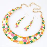 Комплект украшений P005149 (колье + серьги) разноцветный