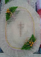 Красивая пасхальная салфетка на корзину в бежевом цвете