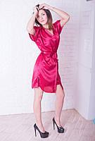Легкий сатиновый халатик  с ночнушкой красного цвета