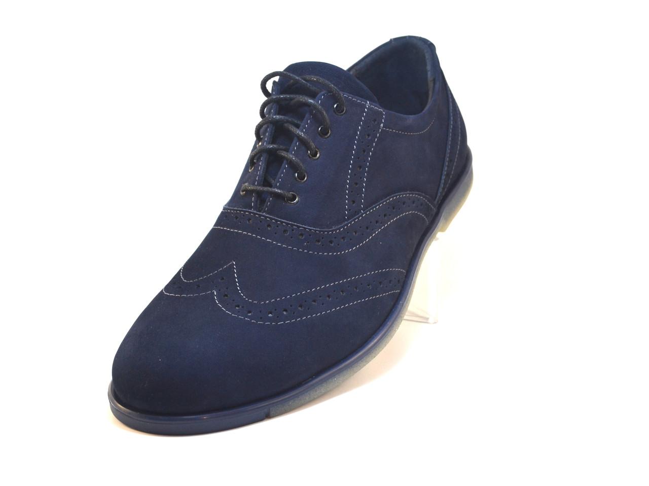 Туфли мужские замшевые броги синие Rosso Avangard Persona Delizia Camoscio Blu