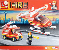 Конструктор пожарник вертолет и машина набор игрушка