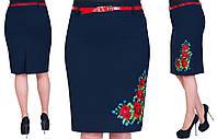 """Женская юбка с боковой вышивкой """"Маки"""". Цвет синий. Размер:48,50,52, 54. Код 239, фото 1"""