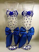 """Бокалы свадебные """"Розочки изыск"""" синие"""