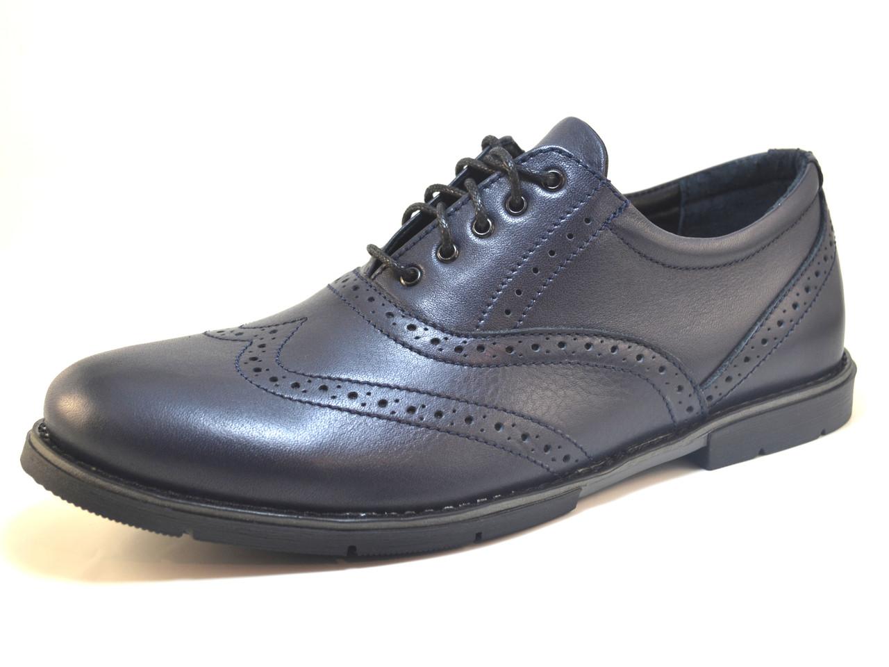 Обувь большой размер туфли мужские кожаные броги Rosso Avangard BS Felicete Uomo Blu Pelle синие
