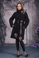 Модное пальто из натурального каракуля под пояс, фото 1