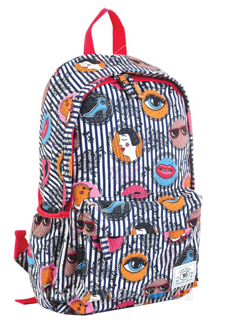 """Модный рюкзак из хлопковой ткани """"Face"""" от компании  Yes"""